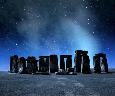 celts: Historical monument Stonehenge in night,England, UK Stock Photo