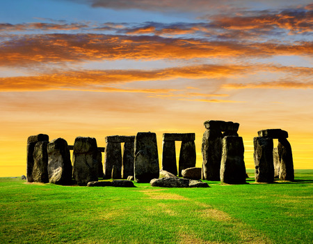 Historical monument Stonehenge in the sunset, England, UK photo