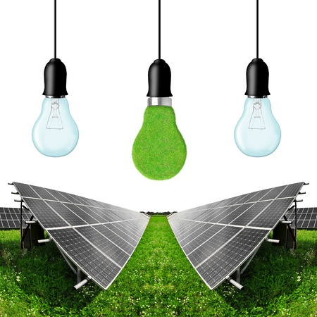 electrical energy: Solar energy panels with bulbs on white background