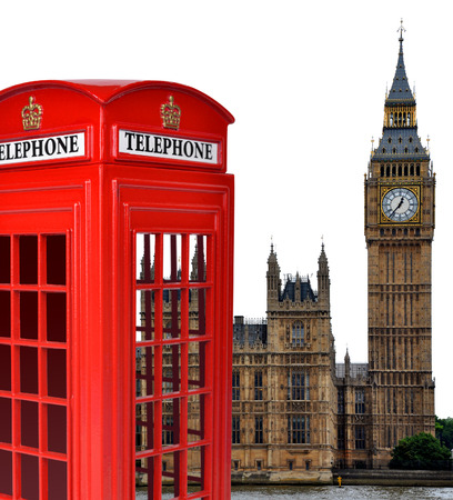 Telephone box and the Big Ben in London,England,UK photo