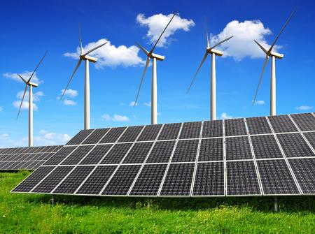 solar wind: solar energy panels and wind turbines