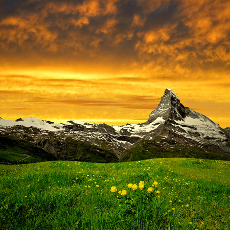 matterhorn: Matterhorn in the sunset at Swiss Alps Stock Photo