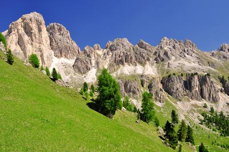 fassa: Dolomite peaks, Rosengarten,Val di Fassa, Italy Alps Stock Photo