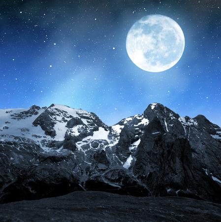 clearness: Marmolada peak,Val di Fassa in night - Italy Alps
