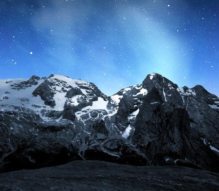fassa: Marmolada peak,Val di Fassa in night - Italy Alps