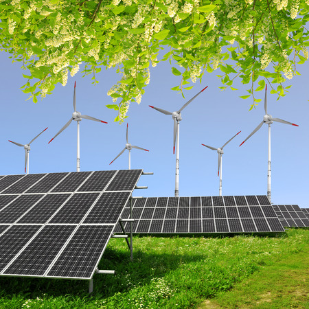 Solar energy panels with wind turbines photo