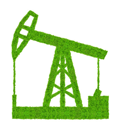 Green oil pump on white background photo