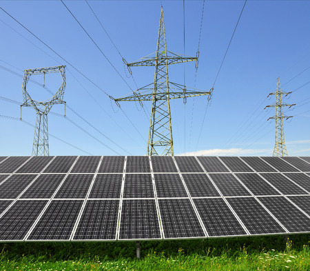 Solar energy panels with electricity pylon
