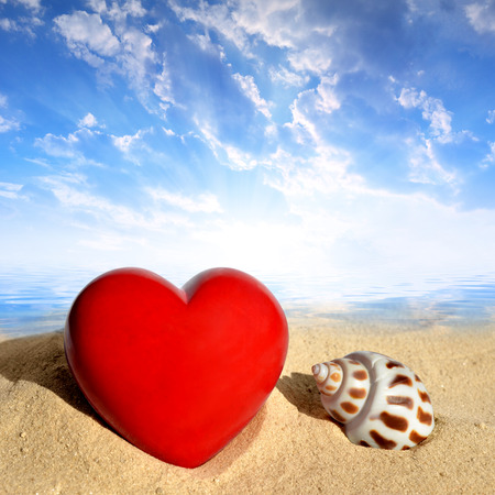 Conch shell with heart on beach in the sunset photo