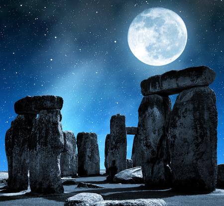 stonehenge: Historical monument Stonehenge in night,England, UK