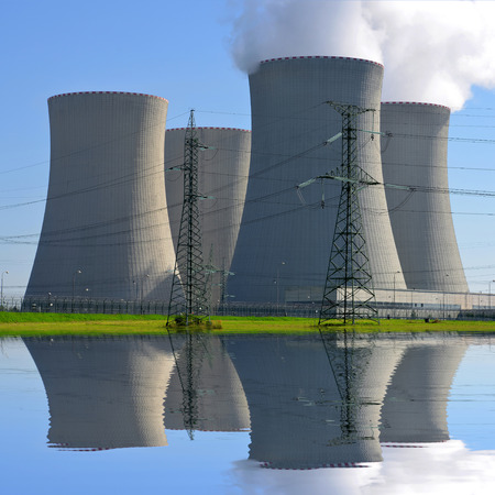 cooling towers: Nuclear power plant Temelin in Czech Republic Europe