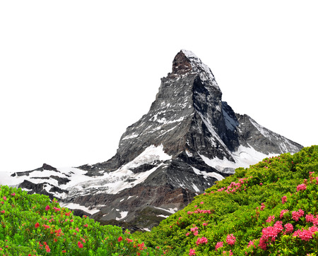 Beautiful mount Matterhorn  on white background Stock Photo