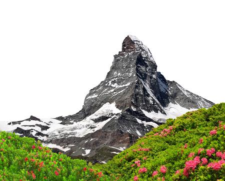 mountain top: Beautiful mount Matterhorn  on white background Stock Photo