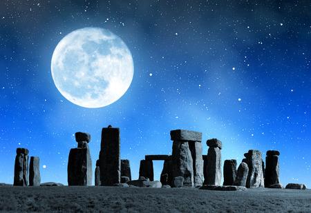 Historical monument Stonehenge in night,England, UK photo