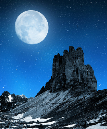 dolomite: Tre cime di Lavaredo in the night , Dolomite Alps, Italy