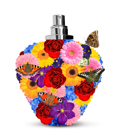 Flower perfume with butterflies isolated on white background photo
