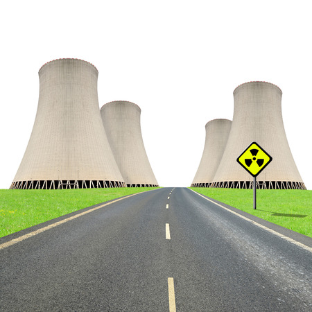 Nuclear waste: Nuclear power plant on white background Stock Photo
