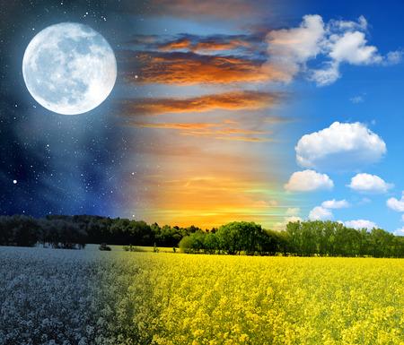 Night, sunset and day landscape Standard-Bild