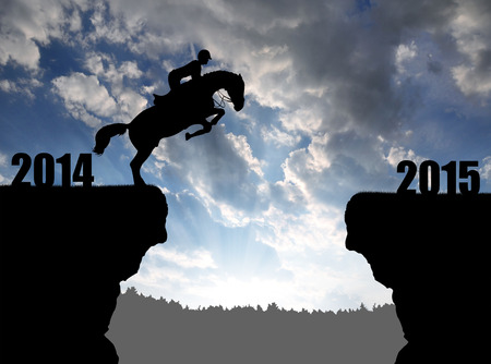 The rider on the horse jumping into the New Year 2015 photo