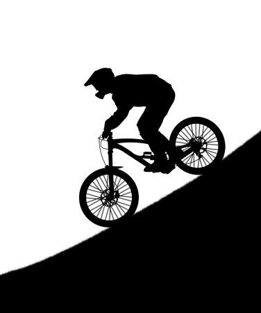 下り坂のバイクのサイクリストのシルエット 写真素材