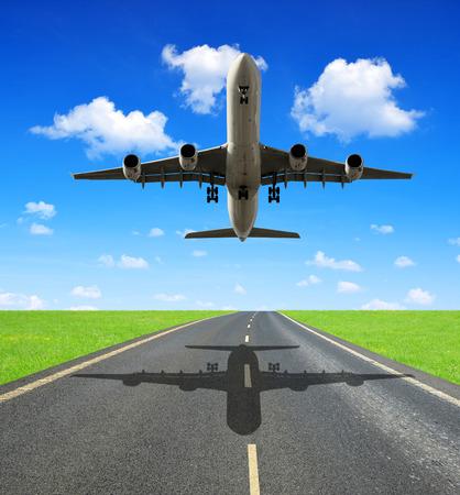 Landing passenger airplane