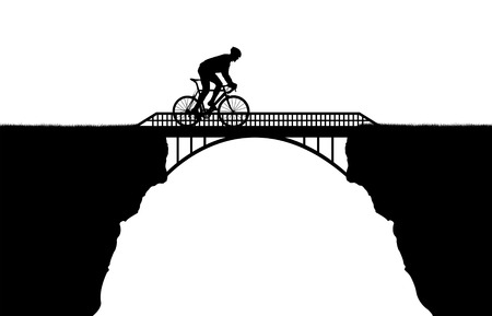 footbridge: Cyclist riding across the bridge  Stock Photo