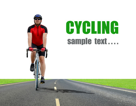 strenuous: Cyclist riding on a road bike Stock Photo