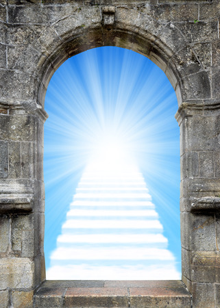 heaven light: Gate with stairway to heaven Stock Photo