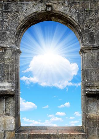 mystery of faith: Gate to heaven with sunny sky