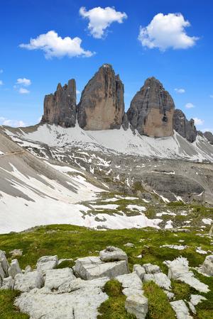 dolomite: Tre cime di Lavaredo in Dolomite Alps,Italy Stock Photo