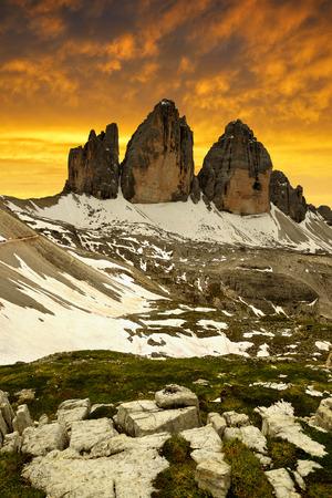 dolomite: Tre cime di Lavaredo in the sunset , Dolomite Alps, Italy