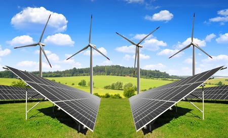 에너지 패널과 풍력 터빈 태양