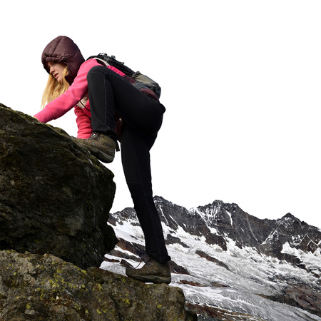 Girl on rock, in the background Mischabel group - Swiss Alps, Europe photo