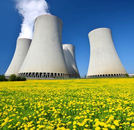 cooling towers: Nuclear power plant Temelin in Czech Republic Stock Photo