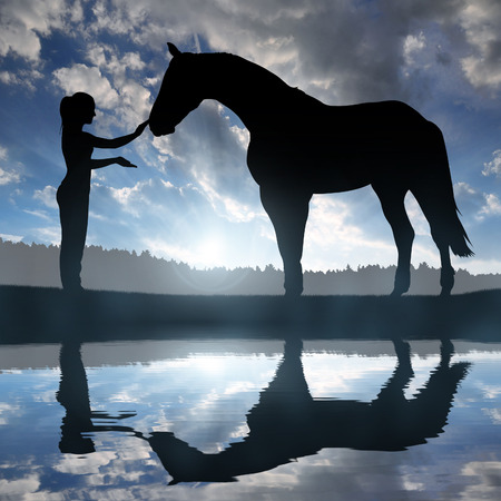 horse hoof: girl with a horse at sunset Stock Photo