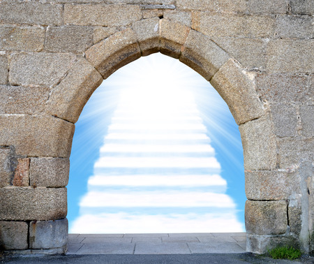 mystery of faith: Gate with stairway to heaven Stock Photo
