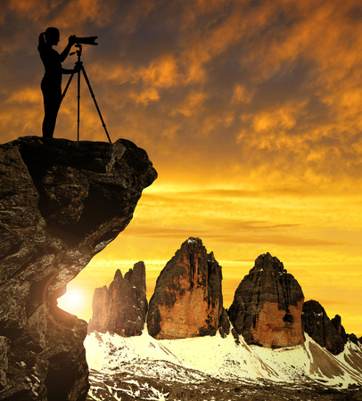 dolomite: Photographer photographing the sunset over the Tre Cime di Lavaredo ,Dolomite Alps, Italy
