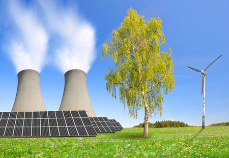 electricity generator: nuclear power plant, solar panel and wind turbine