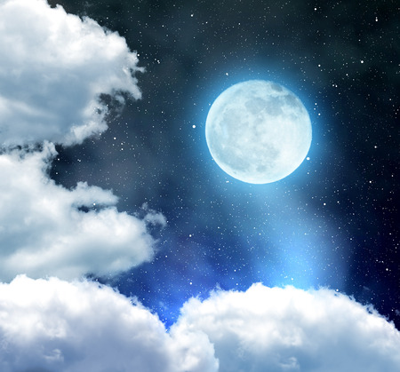 nebulous: Night sky with stars, clouds and moon Stock Photo