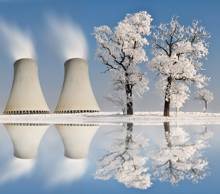 cooling towers: Winter landscape with nuclear power plant.