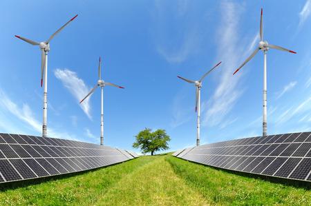 Solar energy panels with wind turbines photo