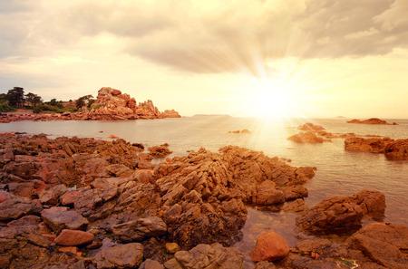 granit: Ploumanach, Pink Granite Coast, Brittany, France Stock Photo