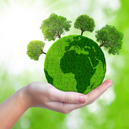 protection of land: Green planet with trees in hand. Stock Photo