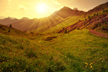 beautiful scenery: Beautiful mountain landscape at sunset, Dolomites - Italy Stock Photo
