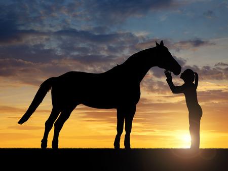 femme a cheval: Silhouette d'une jeune fille donnant un cheval de baiser dans le coucher du soleil Banque d'images