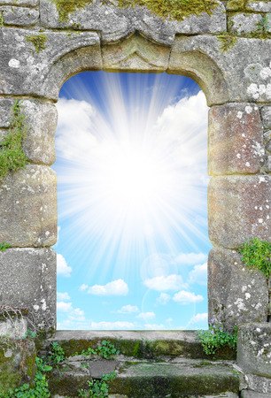 rebirth: Gate to heaven with sunny sky