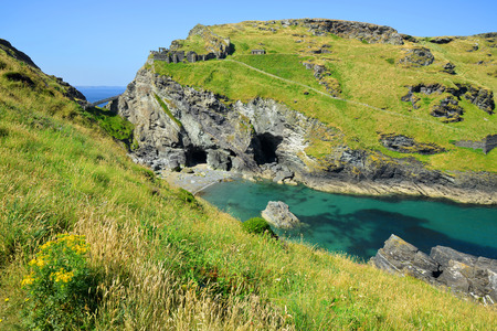 arthur: Merlin Cave - Tintagel bay North Cornwall coast,England,UK
