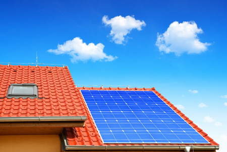 solar panel roof: Solar panel on the roof of the house Stock Photo