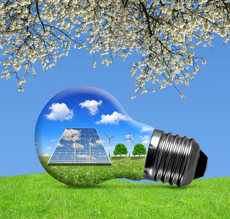 Sonnenkollektoren und Windkraftanlagen in Glühbirne. Grüne Energie-Konzept.