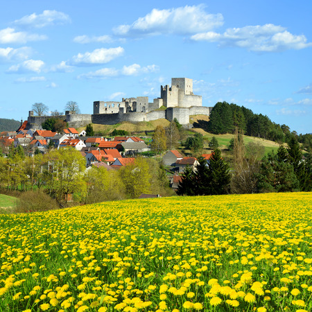 rabi: Spring Landscape with Medieval Stone Castle Ruins Rabi  Czech Republic Stock Photo